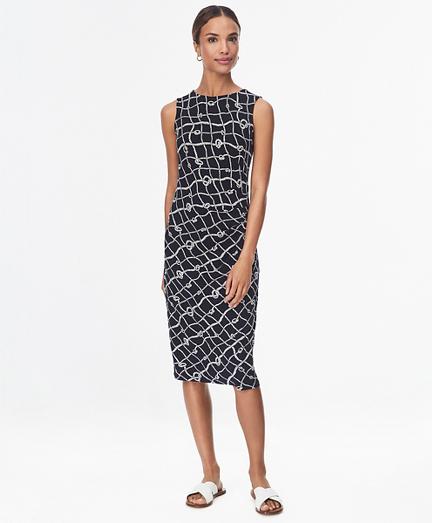 Rope-Print Stretch Jersey Shift Dress
