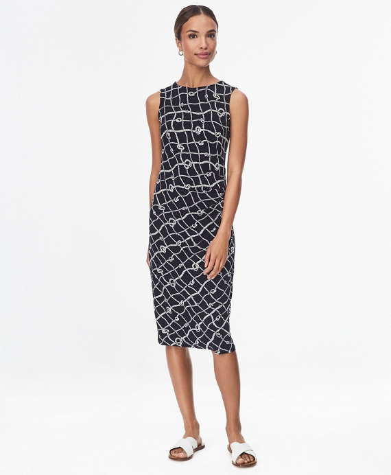 Rope-Print Stretch Jersey Shift Dress Navy-White