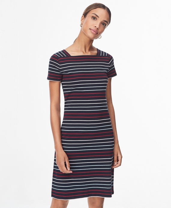 Striped Cotton Dress Navy