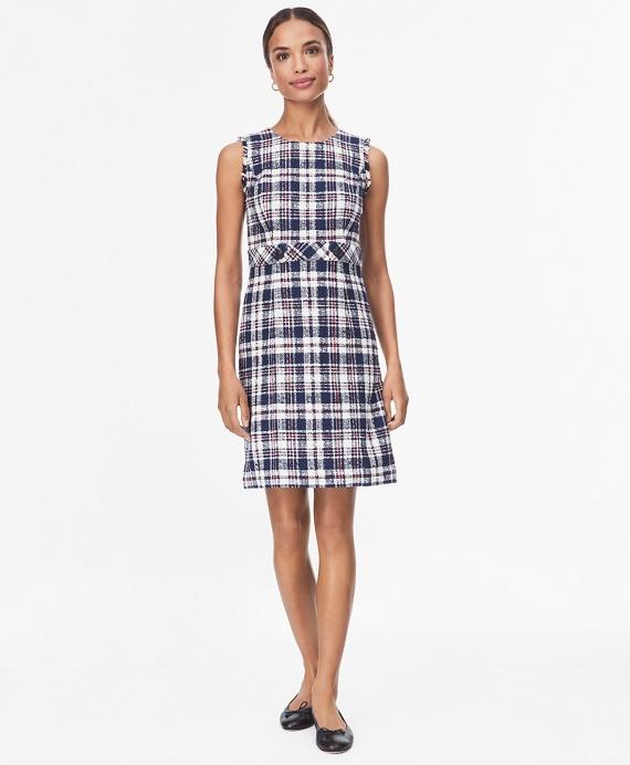 Checked Cotton Boucle Dress Blue