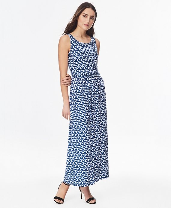 Diamond-Print Jersey Maxi Dress Blue