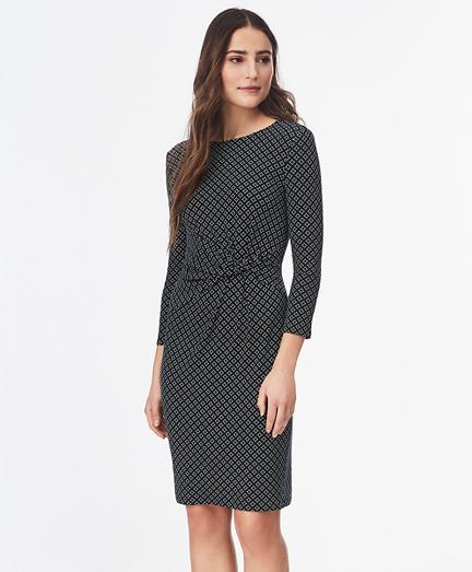 Geometric-Print Ruched Jersey Dress