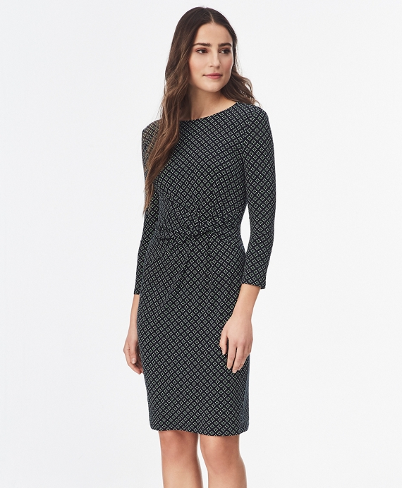 Geometric-Print Ruched Jersey Dress Blue