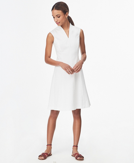 Stretch Cotton Dobby Shawl-Collar Shirt Dress