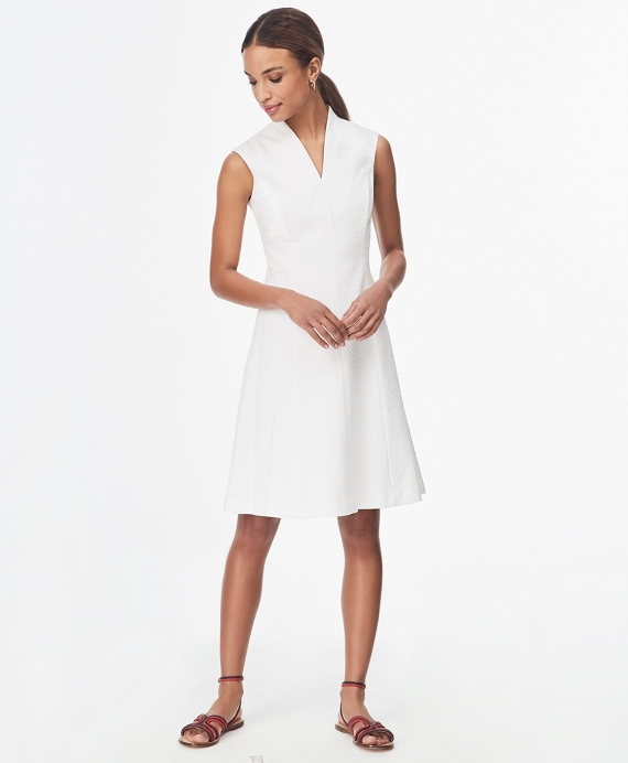 Stretch Cotton Dobby Shawl-Collar Shirt Dress White