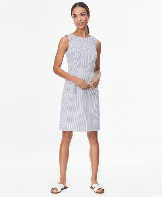 Striped Seersucker Sheath Dress Blue-White