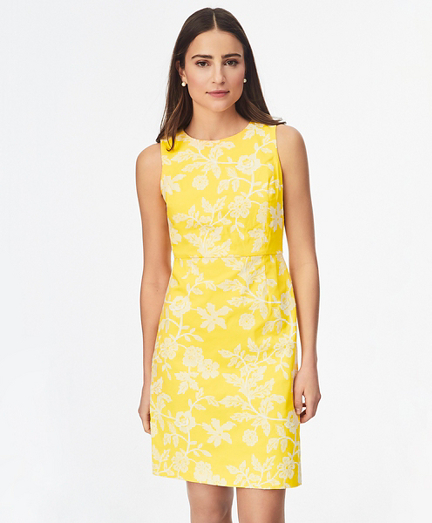 Floral-Embroidered Stretch-Cotton Twill Dress