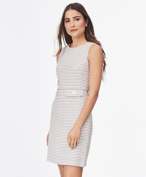 Cotton-Blend Jacquard Shift Dress White