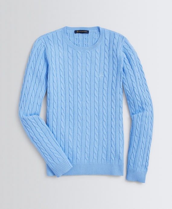 Cable-Knit Cotton Sweater Light Blue