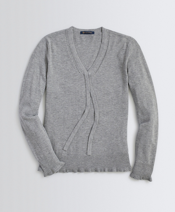 Bow-Detail V-Neck Wool-Blend Sweater Grey Heather