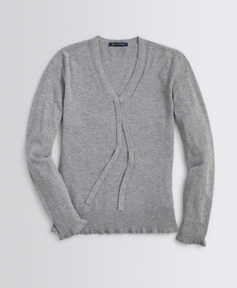 Bow-Detail V-Neck Wool-Blend Sweater