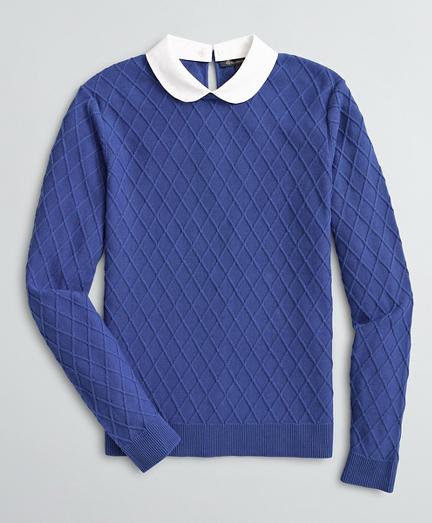Peter Pan Collar Diamond-Stitch Cotton Sweater
