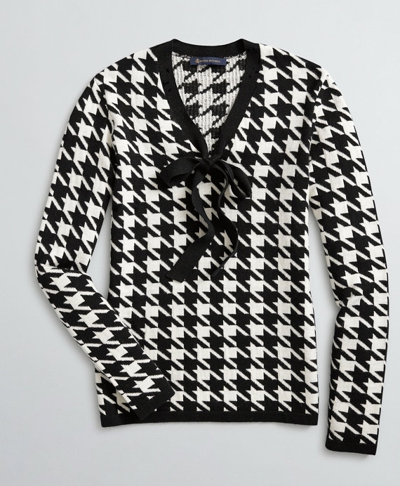 Bow-Neck Houndstooth Sweater Black-White