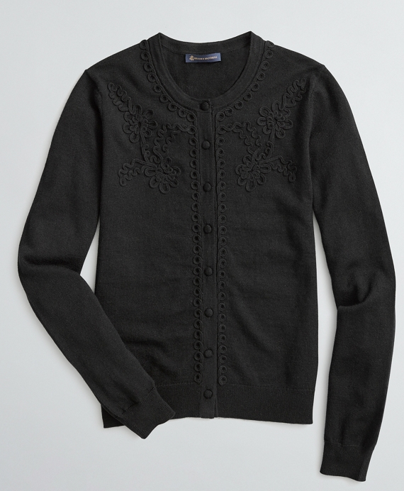 Soutache-Embroidered Cardigan Black
