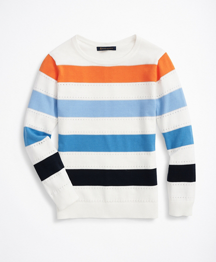 Striped Shimmer-Knit Sweater