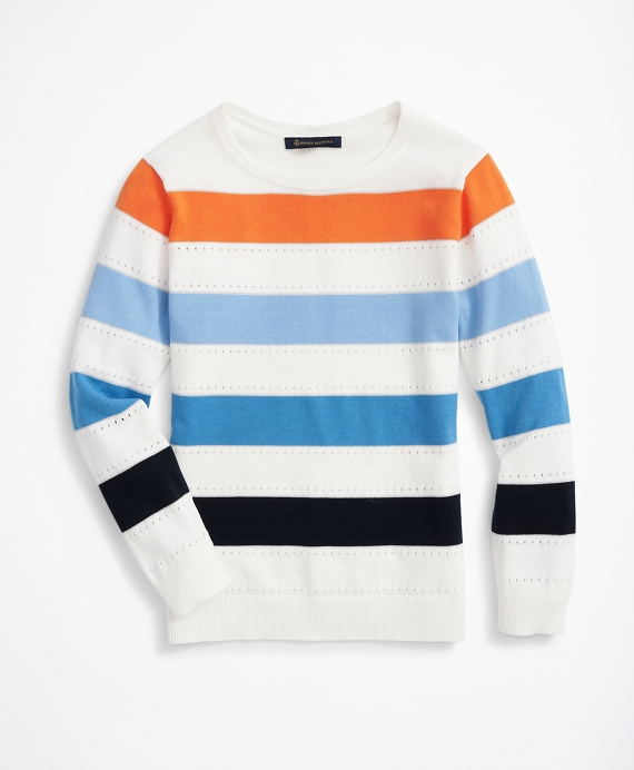 Striped Shimmer-Knit Sweater White-Multi