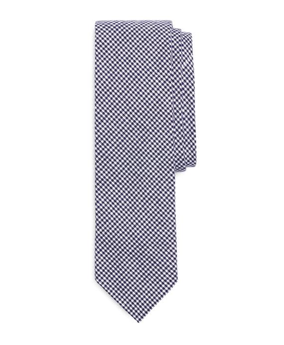 Gingham Slim Tie Navy