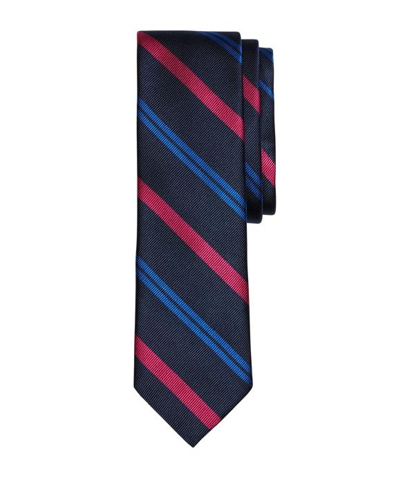 Alternating Stripe Slim Tie Navy