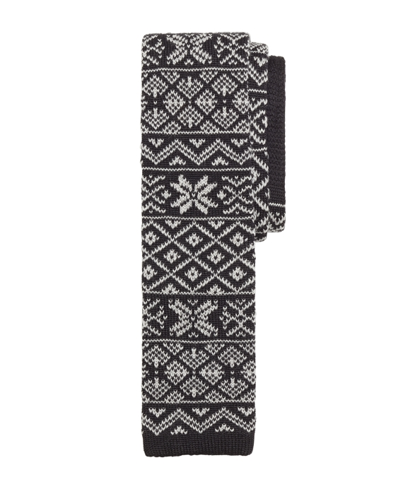 Fair Isle Knit Tie Black