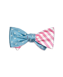 Butterfly and BB#5 Stripe Reversible Bow Tie