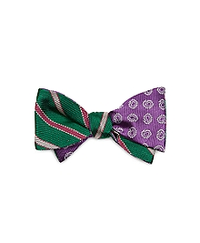 Textured Alternating Stripe and Pine Reversible Bow Tie