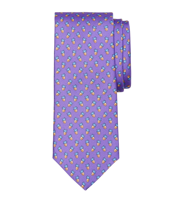 Pineapple Print Tie Purple