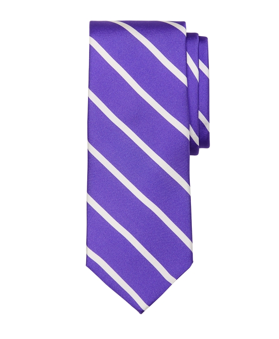 Bar Stripe Printed Tie Purple