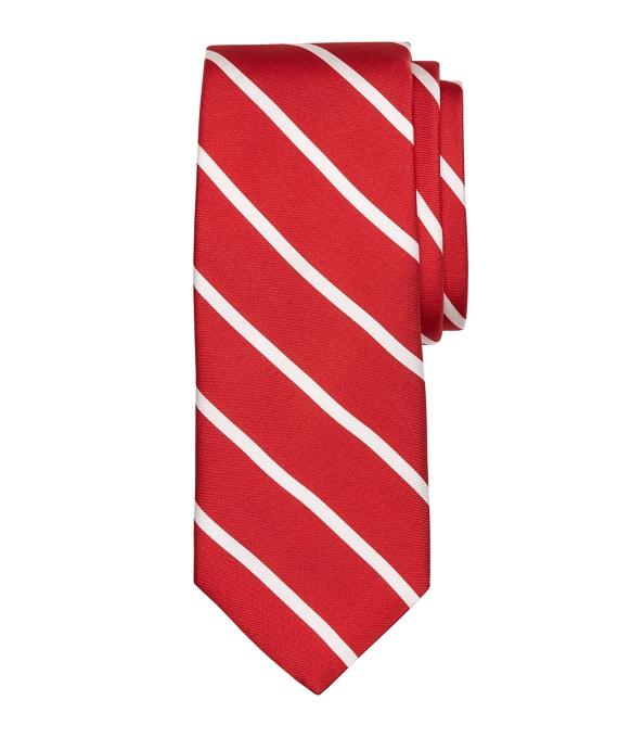 Bar Stripe Printed Tie Red