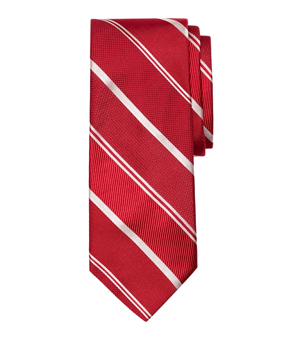 Mixed Weave Alternating Stripe Tie Red