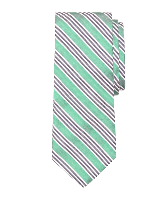 Framed Triple Stripe Tie Green