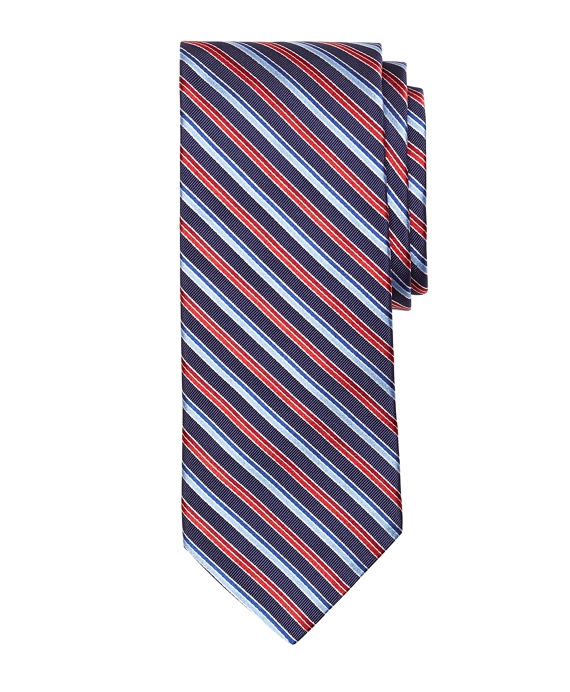 Alternating Double Stripe Tie Navy