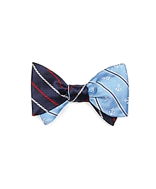 Alternating Rope Stripe and Tossed Anchor Reversible Bow Tie