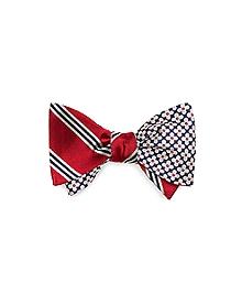 Mini BB#1  Stripe and Four Petal Flower Reversible Bow Tie