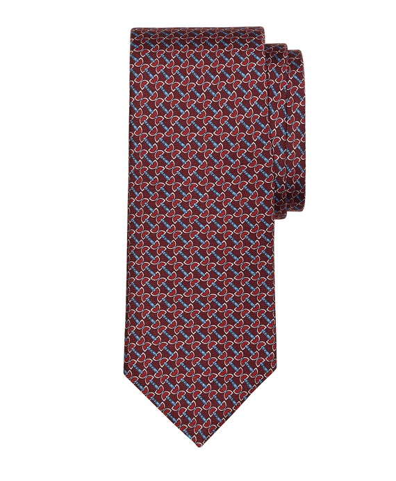 Horsebit Link Print Tie Red