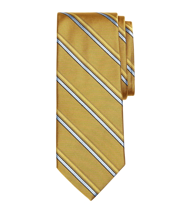 Alternating Double Stripe Tie Gold