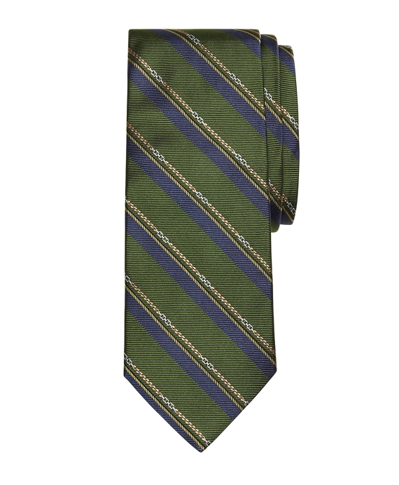 Horsebit Stripe Tie Green