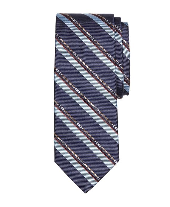 Horsebit Stripe Tie Navy