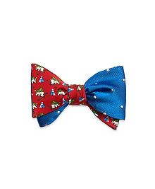 Skiing Bear with Dot Reversible Bow Tie