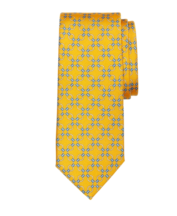 Connect Link Circle Print Tie Gold
