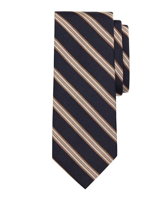 Melange Framed Stripe Tie Navy