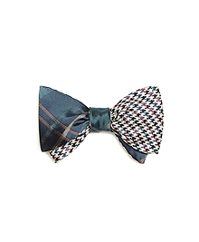 Plaid with Houndstooth Reversible Bow Tie