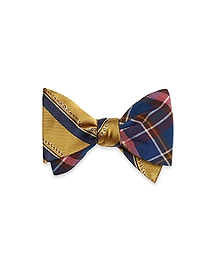 Plaid with Horsebit Stripe Reversible Bow Tie