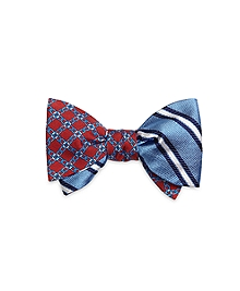 Diamond Link with Framed Repp Stripe Reversible Bow Tie