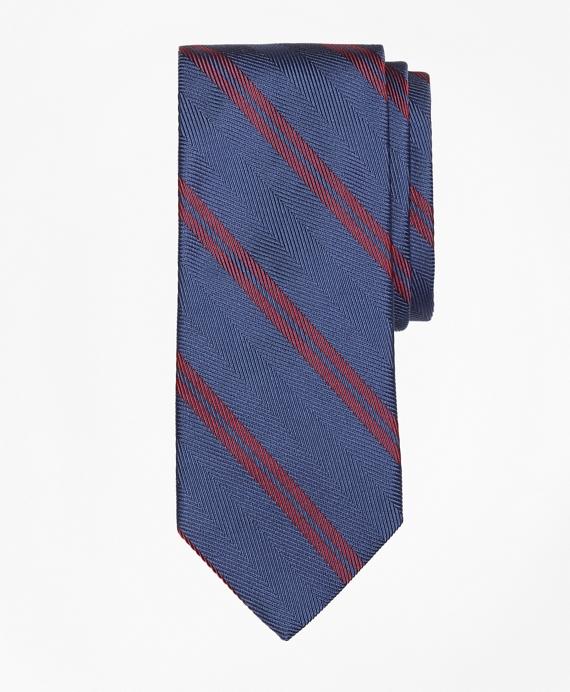 Herringbone Double Stripe Tie Blue