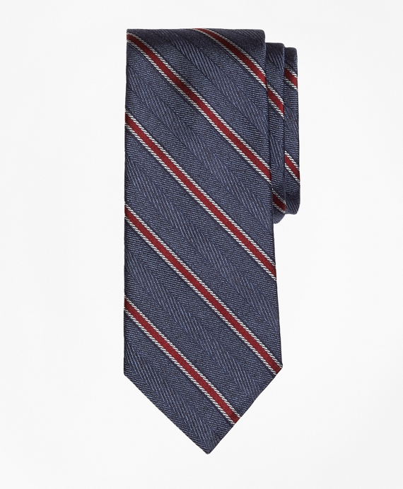 Herringbone Framed Stripe Tie Navy
