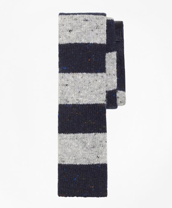 Melange Rugby Stripe Knit Tie Navy