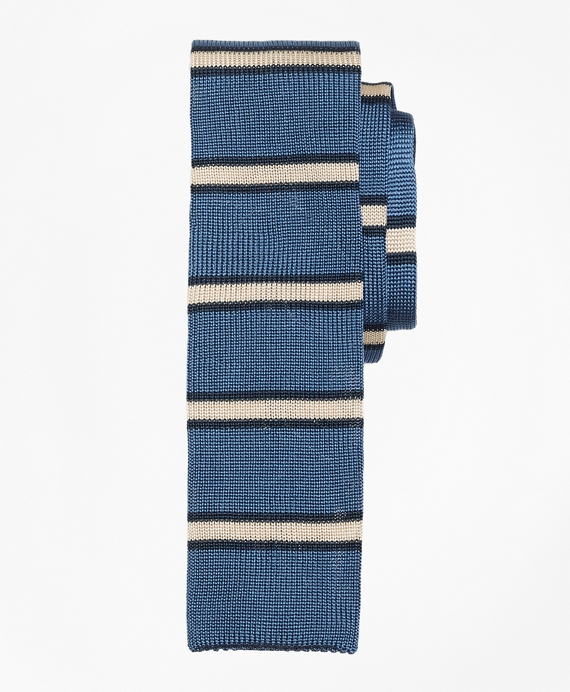 Framed Stripe Knit Tie Blue