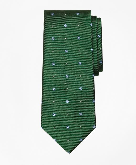 Spaced Circle and Square Tie Green