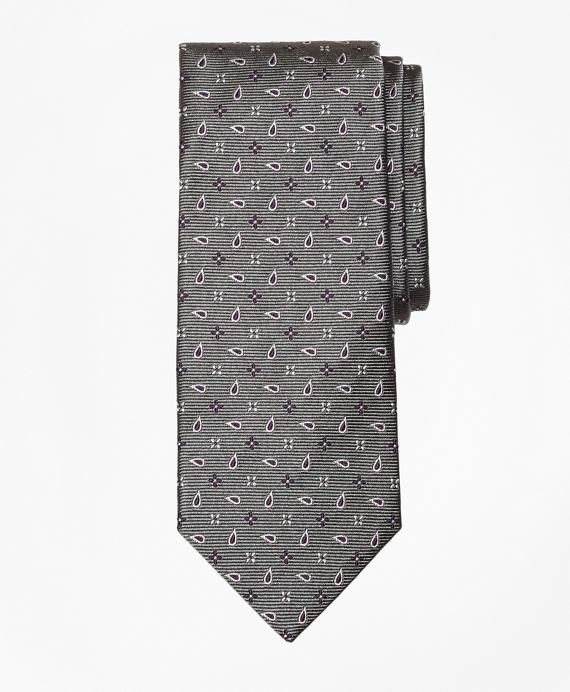 Spaced Flower and Pine Tie Grey