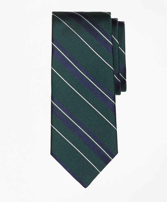 Bold Textured Split Stripe Tie Green